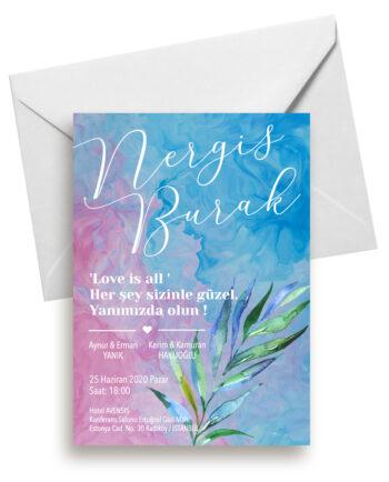 pink blue davetiye beyaz zarf